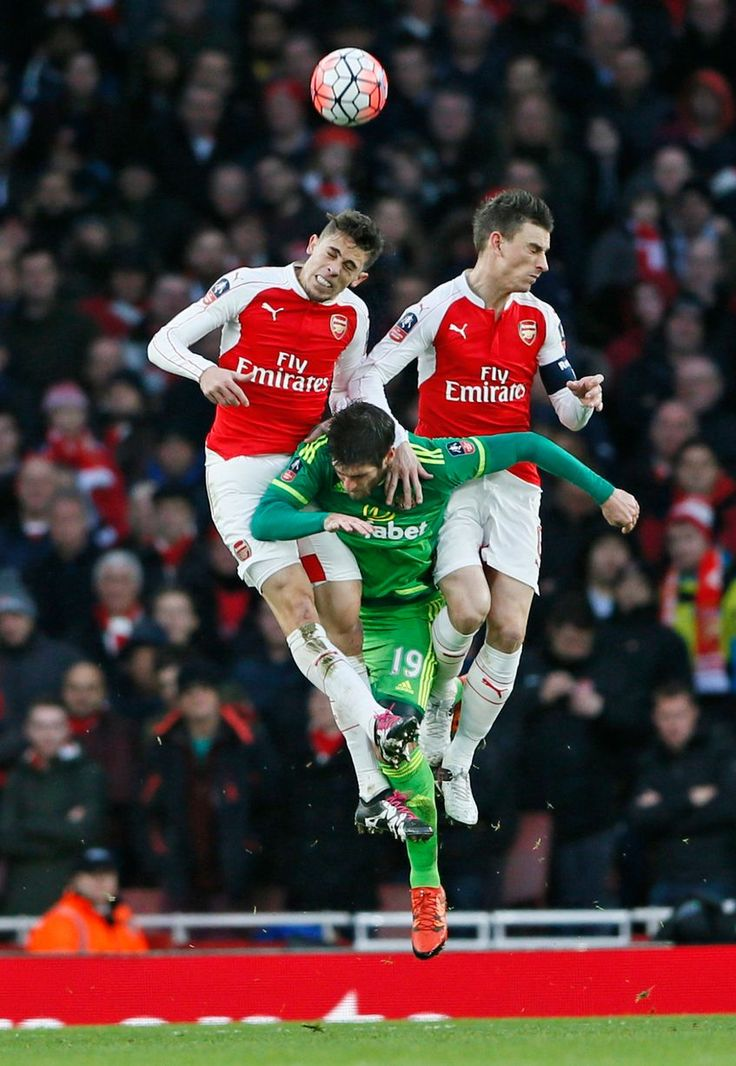 Gabriel Paulista and Laurent Koscielny in action with Danny Graham