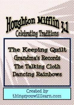Includes three supplementary sets of worksheets for Houghton Mifflin 3.1 Theme Two stories; The Keeping Quilt, Grandma's Records, The Talking Cloth and Dancing Rainbows.Details are; 1. The Keeping Quilt has two vocabulary activities which focus on using a combination of dictionary skills and context clues, ten comprehension questions, evaluate a story introduction, evaluate a story activities to help students apply that skill, sequencing, summarizing, a reading passage about Russia with…
