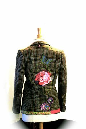 Reconstructed tweed blazer. Great idea for thrift- store purchase.