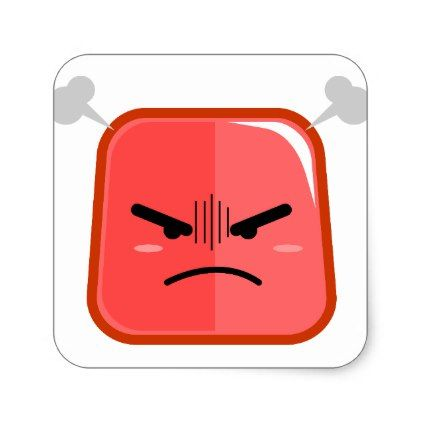 Fuming angry faced red emoji square sticker - kids stickers gift idea diy decor birthday sticker children christmas gifts presents