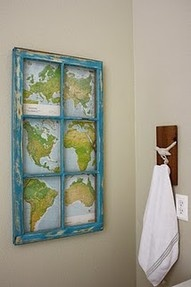 Great idea for displaying where you've been and where you'd love to go! Just back the map with thin corkboard and use different colored pins. :]