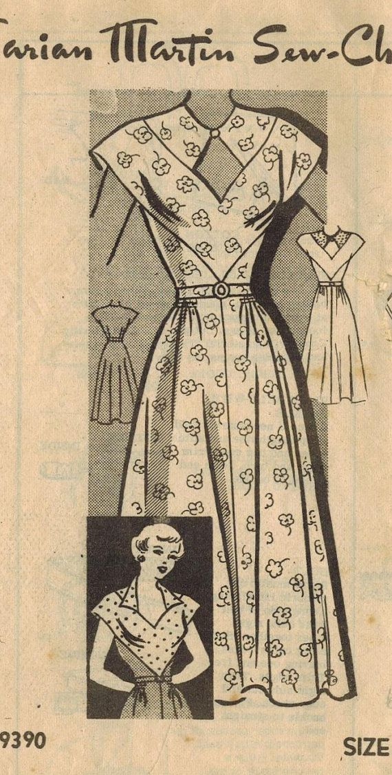 années 1950 manque de Marian Martin 9390 Vintage Sewing Pattern robe taille 18 buste 36