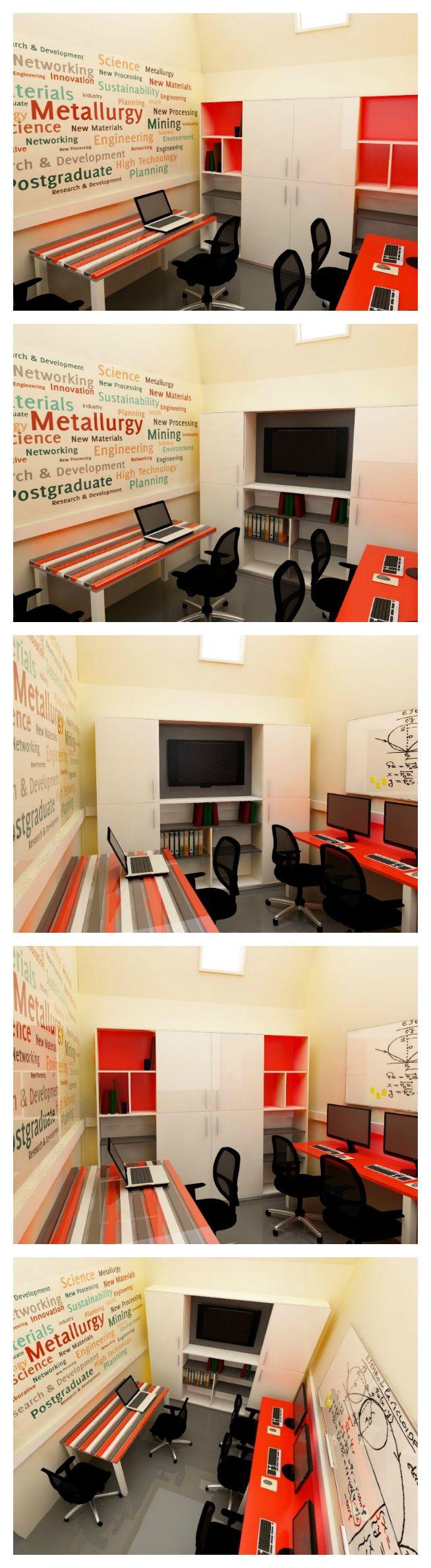 Oficina de trabajo comunitaria para la UTFSM, donde predominan lo colores naranjo, gris y blanco. Se propone un papel mural con conceptos acordes a las temáticas de estudio y trabajo, un escritorio recto para 4 personas en color naranjo con bases pedestal blancas y una mesa de colores de la línea fun. El armario del fondo incluye una zona para TV y espacio para librero y archivos.