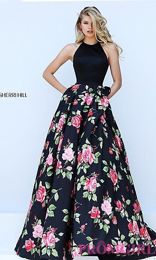 Black Floral Print Halter Top Sherri Hill Dress at PromGirl.com