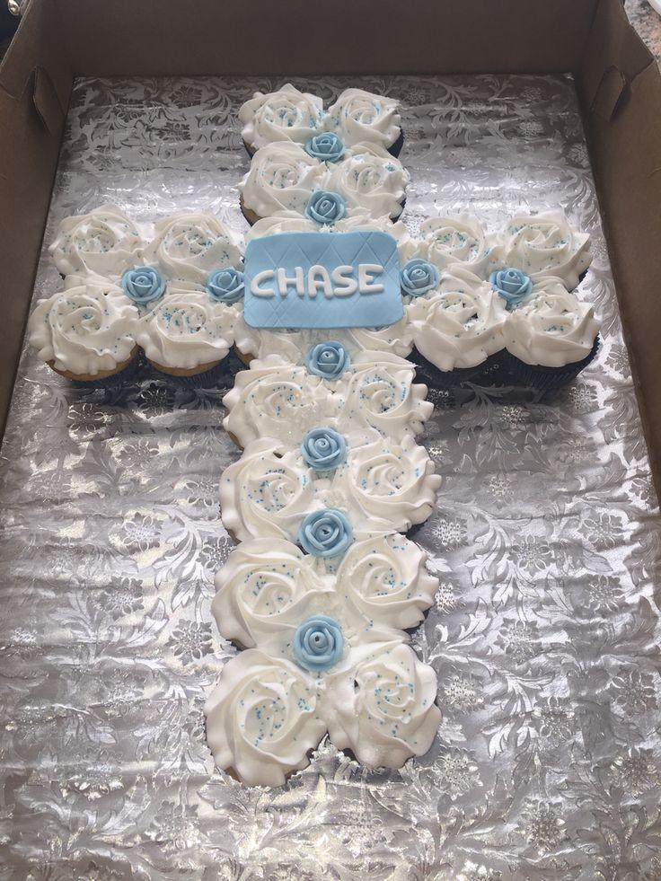 baptism cupcake cross cake