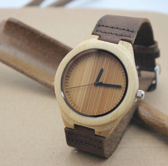 Minimalist Bamboo Wooden Watch with Genuine Leather Strap.