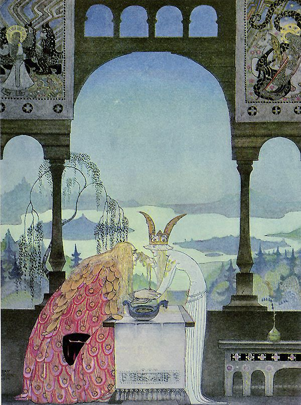 The King went into the Castle, and at first his Queen didn't know him, he was so wan and thin,  through wandering so far and being so woeful. East of the Sun, West of the Moon. Kay Nielsen