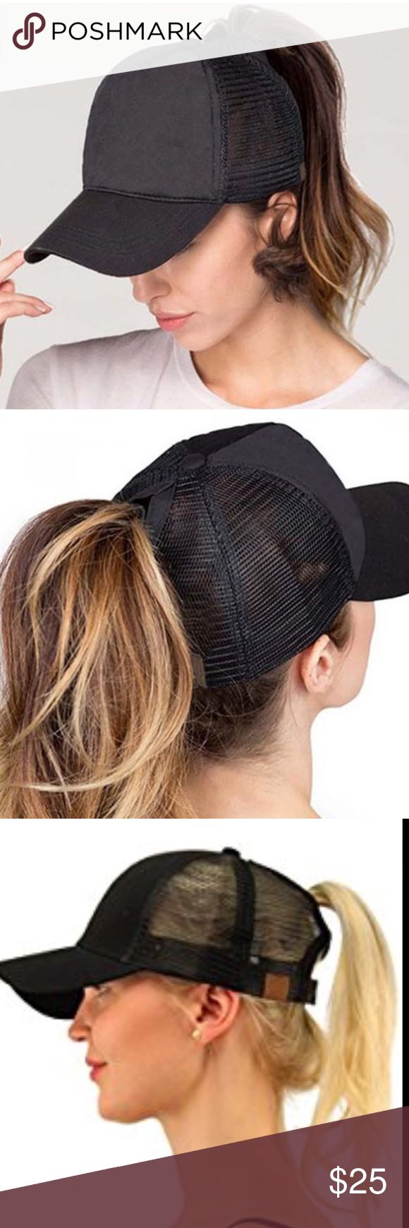 """🆕 Ponycap Messy High Bun Ponytail Mesh Cap One size fits most with adjustable hook and loop fastener. Ponytail slot: 3"""" by 5"""". Perfect for pulling your messy bun or high ponytail through . Simply pull hair through slot and adjust to desired style. Even suitable for man buns! This listing is for black . Boutique Accessories Hats"""
