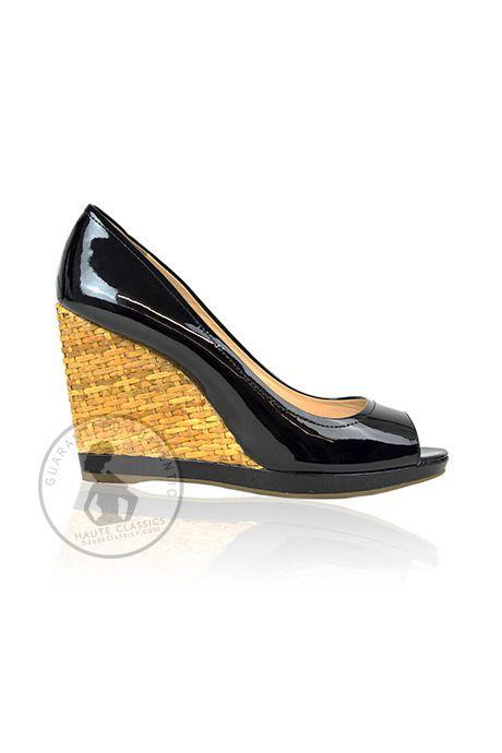 PRADA Black Patent Peep Toe Woven Wedges (Size 38) - HauteClassics