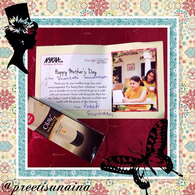 Thank you, @mynykaa & @olay for the lovely #MothersDay surprise for my mum - her favourite skincare brand. #preetisunaina