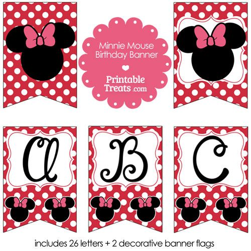 Printable Minnie Mouse Happy Birthday Banner Letters A-M ...