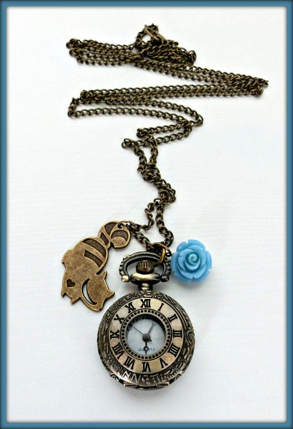 Alice in Wonderland pocket watch necklace, Antique bronze pocket watch necklace, Wonderland cheshire cat watch necklace