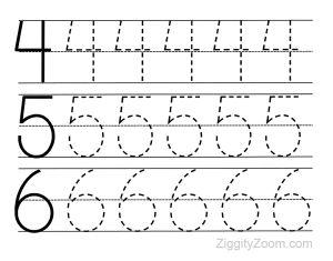 Preschool Worksheets- Number Tracing 4 to 6