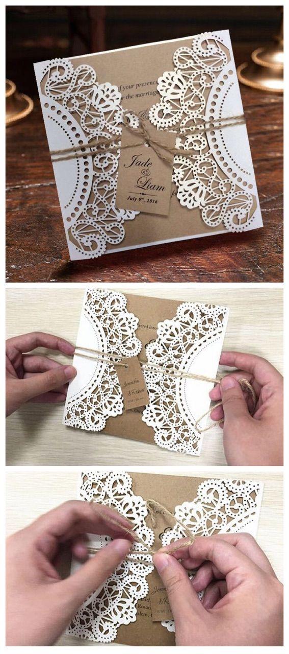 Rustic Wedding Invitation, Vintage Wedding Invitation