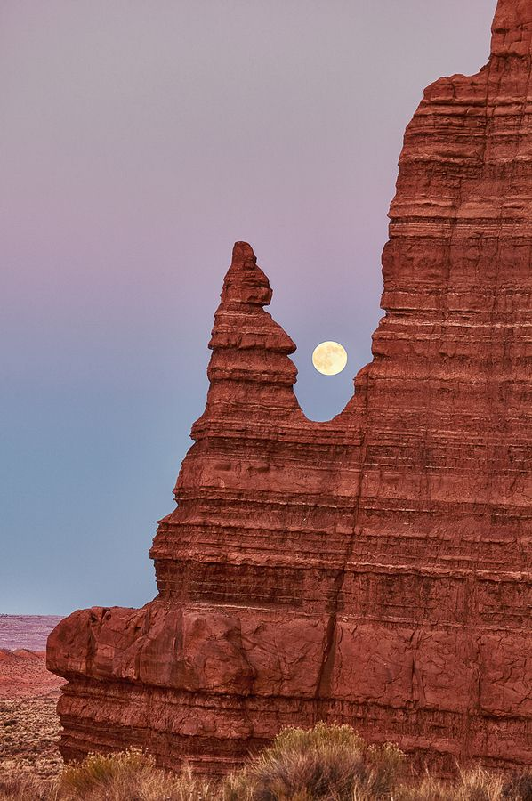 Moonrise and formations in Cathedral Valley of Capitol Reef National Park, Utah.