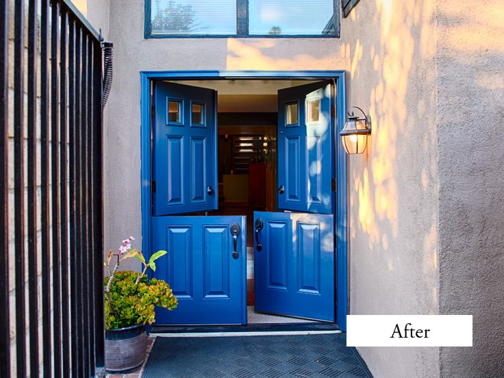 dutch door exterior fiberglass. plastpro drs60 double dutch doors, clear glass squares top panels. factory painted blue copper door exterior fiberglass