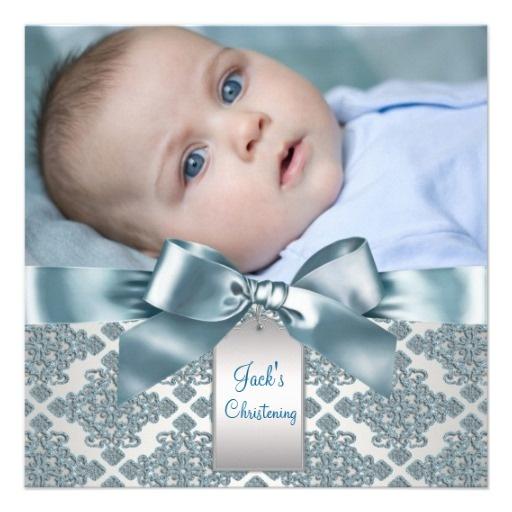 Invitaciones: Births Announcements, Photo Christening, Christening Custom, Baby Boy Photos, Damasks Baby, Christening Invitations, Baby Boys Photo, Blue Damasks, Beige Blue