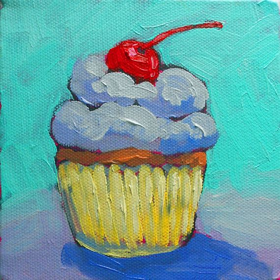 cupcake, vibrant, contemporary artwork by Kristina Wentzell, archival print, mixed media 4x4 inch canvas