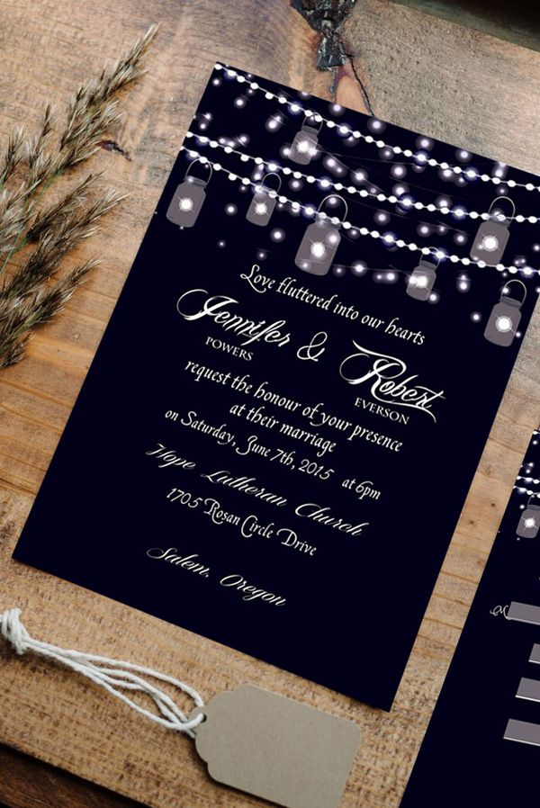 string lights inspired rustic wedding invitations for country wedding ideas