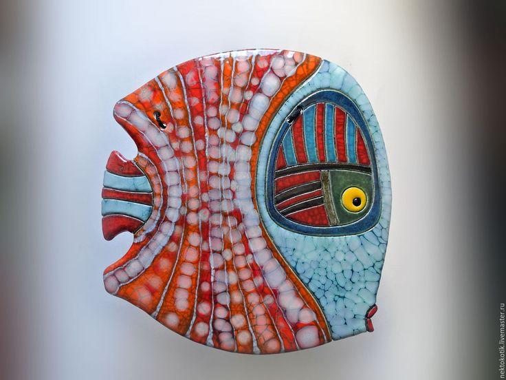 Купить Керамическое панно «Рыба» - Керамика, ручная работа, кракле, глина, красный, желтый, рыба
