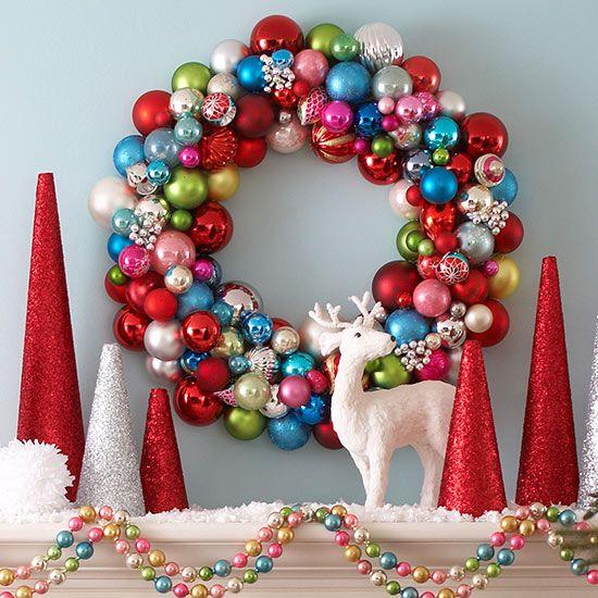 Colorful Ornament Wreath: Color Christmas, Christmas Wreaths, Holidays Decoration, Christmas Decoration, Decoration Idea, Christmas Ornaments, Christmas Mantles, Ornaments Wreaths, Christmas Mantels