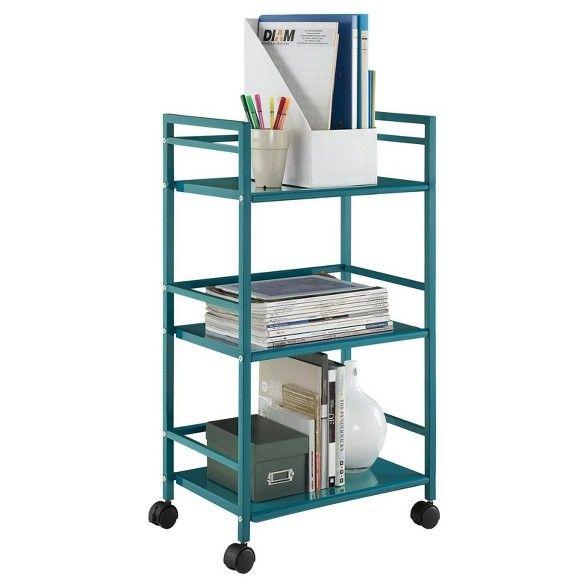 Trinity 3 Shelf Metal Rolling Utility Cart Room Joy Rolling Utility Cart Utility Cart Teal Rooms