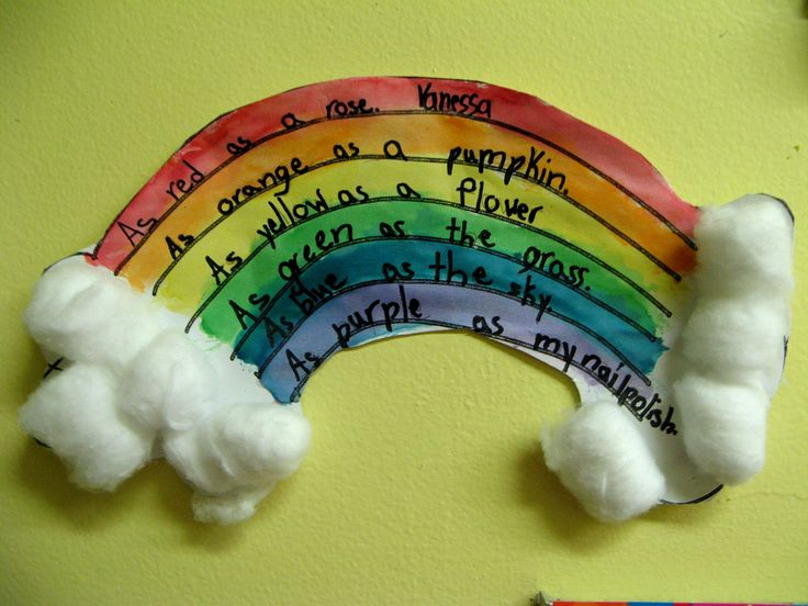 Rainbow activity that incorporates a little bit of writing.  Perfect