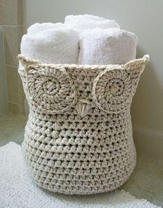 Crochet Owl Basket. Pattern found on Raverly.com