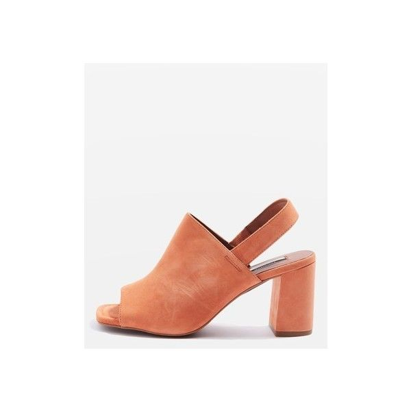 Topshop Narrator Slingback Heels ($69) ❤ liked on Polyvore featuring shoes, orange, orange high heel shoes, leather shoes, high heel slingback shoes, high heel mule shoes and orange shoes