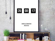 Datumsposter/Hochzeitsposter im Digitaluhr-Look