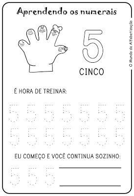 Exercícios para Contar com Os Dedos da Mão - Desenhos Para Colorir                                                                                                                                                                                 Mais