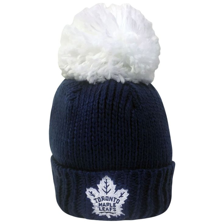 Toronto Maple Leafs Reebok Ladies Oversized Cuffed Pom Toque - shop.realsports
