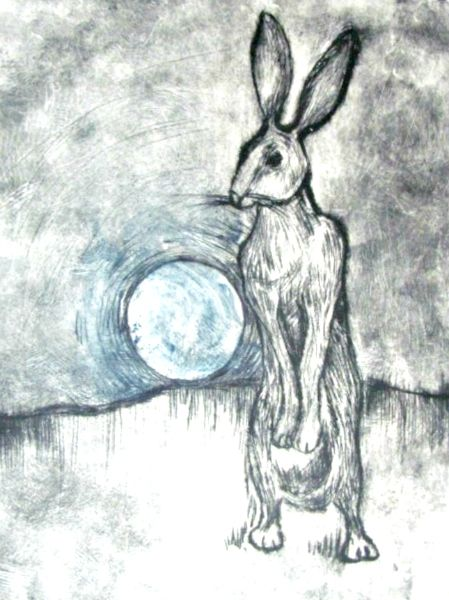 march hare with blue moon drypoint etching 2012 600