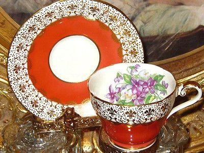 Vintage AYNSLEY GOLD CHINTZ PURPLE VIOLETS ORANGE Tea Cup and Saucer Teacup