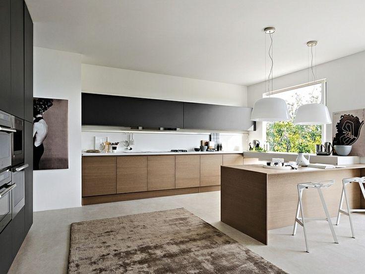 cuisine noire et bois avec murs et dcoration en blanc