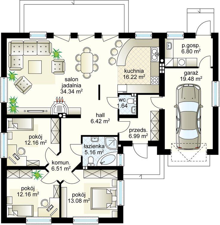 Pralina projekt - Parter 121.48 m² + garaż 19.48 m²