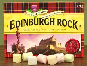Edinburgh rock is a traditional Scottish confection, and consists of sugar, water, cream of tartar, colourings and flavourings. Edinburgh rock was first made in the 19th Century by a man named Alexander Ferguson, who became known as 'Sweetie Sandy'