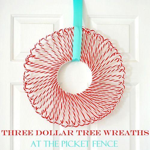 candy cane wreath: Dollar Tree, Picket Fence, Dollar Store, Candy Canes, Candy Cane Wreath