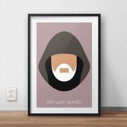 Kolorowy plakat z postacią Obi-Wan Kenobi dla dzieci i fanów filmu Gwiezdne Wojny Star Wars