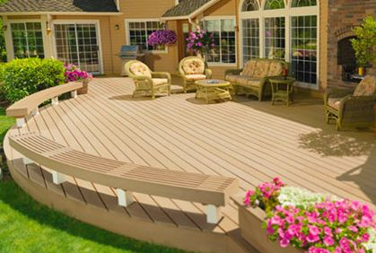 House Deck Design Ideas Plans Pictures & Designer Tools--circular deck with seating
