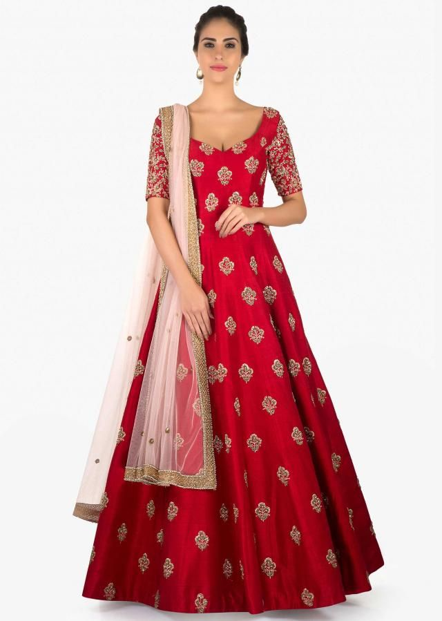 4500a95b773ddd Rani pink raw silk anarkali suit with sequins butti only on Kalki ...