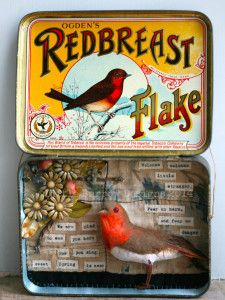 Little Stranger, Robin Storybox, bird, Vintage upcycled sculpture by Little Burrow Designs, Claire Read, Textile, Tin art, Embroidery, Vignette, whimsical, miniature, mixed media, assemblage, Devon