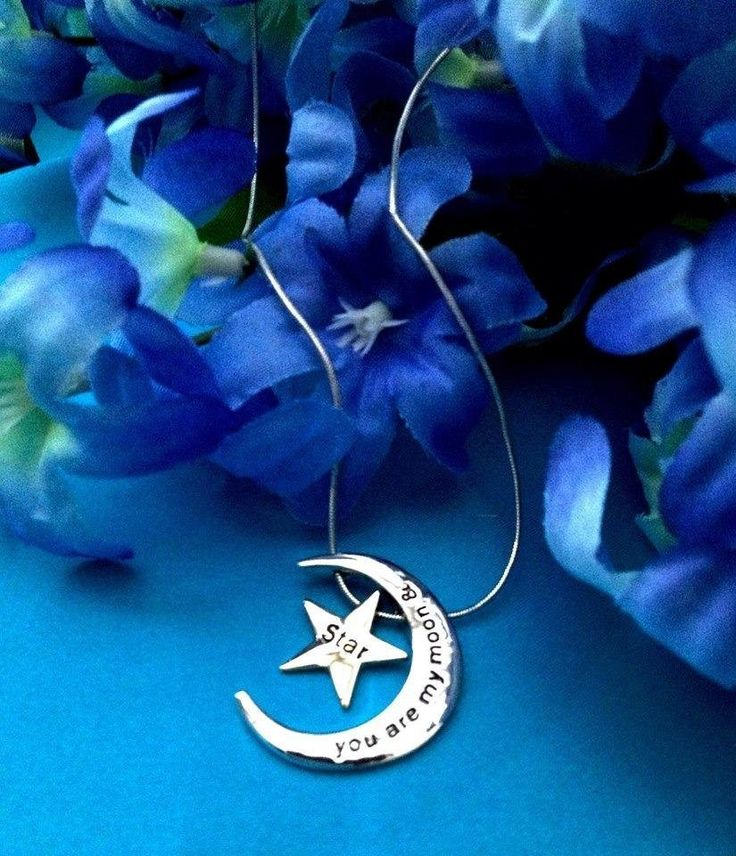 """Amazon.com: Womens You Are My Moon & Star Pendant Necklace Chain Jewelry for Birthday Anniversary Gifts, 18"""" + 3.5"""" Extender (Moon & Star Two-toned (SG Alloy)): Jewelry"""