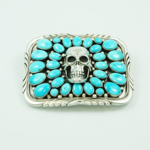 RETANGULAR TOURQUISE SKULL 925 STERLING SIVER HANDCRAFTED NATIVE BUCKLE nav-bc4