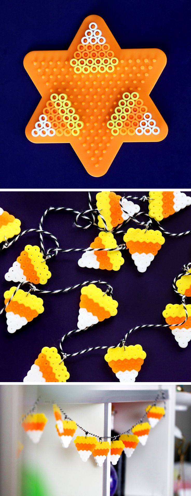 Halloween DIYs to Make When You're Bored - DIY Candy Corn Perler Bead Garland | Karen Kavett