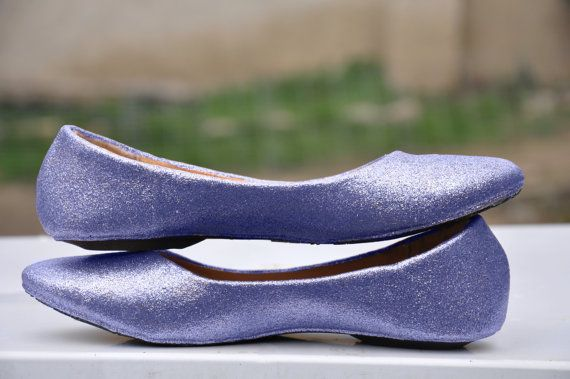 Wedding flats Violet bridal shoes purple Glitter by RagzDagzTM