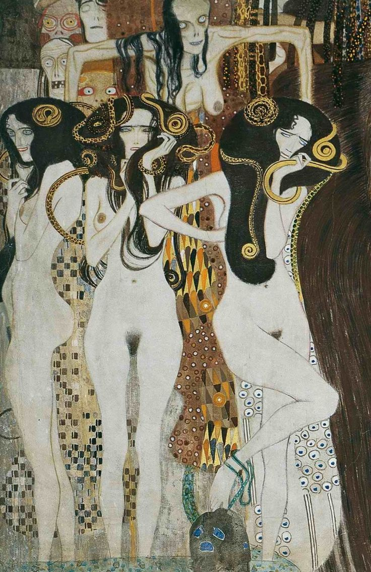 Three Gorgons and Sickness, Madness, and Death from the Beethoven Frieze - Gustav Klimt, 1902. Painted for the 14th Vienna Secessionist Exhibition, and now permanently located in the Vienna Secession Museum, in Vienna, Austria.