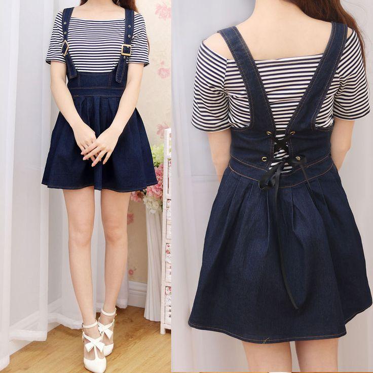 Japanese Short Dress Suspenders Sleeveless Sweet Lolita Stripe 2 Pcs Preppy Styl