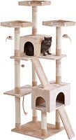 The Frisco 72-Inch Cream Cat Tree is the ultimate all-in one spot for your kitty to do all the things she loves, from lounging to leaping to honing her expert hunting skills. Frisky cats can jump from perch to perch as they climb to the top of their lookout tower. Carefully placed dangling toys give kitty the thrill of the hunt as she bats them around till her heart's content. With 10 enticing scratching posts and two scratch board ramps, several cats can claw at once, so it's great for…