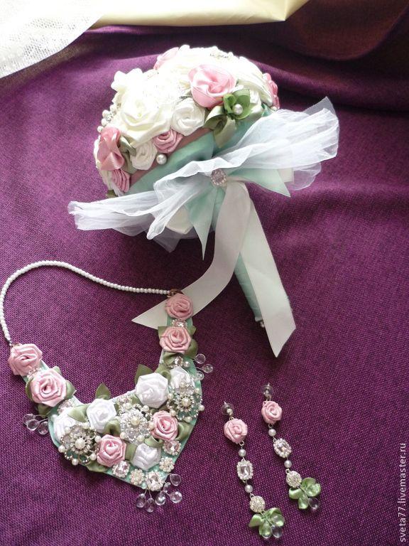 Купить Свадебный букет для невесты - мятный, свадьба, цветы, розовый, белый, букет, атласные ленты
